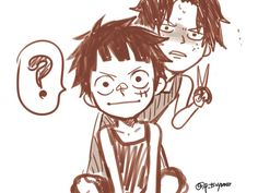 Luffy and ace<< omg thats the cutest thing i've ever seen!!!!!<333