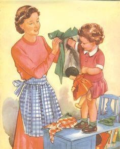 Vintage 1950s Childrens Print - Mummy Helps Toddler Put On Coat. Ideal for Framing.., via Etsy.