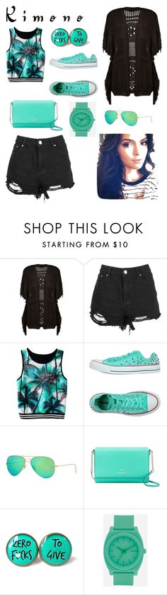 """Untitled #136"" by redphoenixxcc ❤ liked on Polyvore featuring Converse, Ray-Ban, Kate Spade, Cultura, Nixon and kimonos"