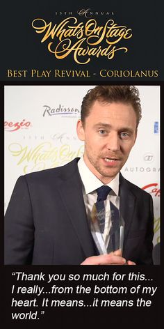 WhatsOnStage Awards. Best Play Revival - Coriolanus