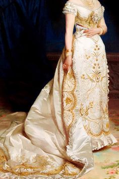ofwordsandwonder:  warpaintpeggy:  INCREDIBLE DRESSES IN ART (87/∞)Queen Margherita by Pasquale Di Criscito This dress survives. See it, and a photograph of the queen wearing it, here.  The detail is incredible!