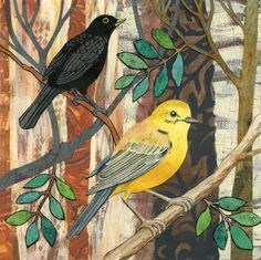 Birds in the woods - collage by Alison Kolesar