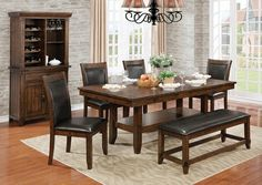 """6 pc Meagan I collection transitional style rustic plank brown cherry finish wood dining table set . This set includes the table and 4 side chairs and a bench.  Table measures 78"""" x 42"""" x 30"""" H.  Side chairs measure 19 1/2"""" x 23 3/4"""" x 39 5/8"""" H.   Bench measures 48"""" x 16"""" x 18 1/2"""" H.  Some assembly required."""
