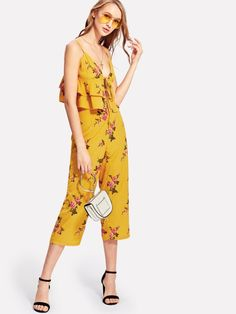 9982993404353 SHEIN offers Floral Tiered Hem Cami Top   Pants Set   more to fit your  fashionable needs.