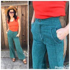 Vintage 70's High Waist Bell Bottom Denim Jeans Size 26 Flower Chain stitch Pant    eBay