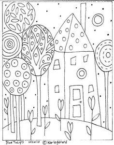 Rug Hooking Paper Pattern Blue Tulips Folk Art Karla G Folk Embroidery, Embroidery Patterns, Paper Embroidery, Flower Embroidery, Colouring Pages, Coloring Books, Pattern Coloring Pages, Stencil, Bordado Popular
