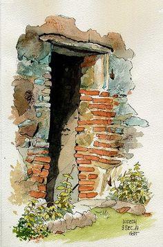 Luzech, porte de cabane de vignes | by Cat Gout #watercolorarts