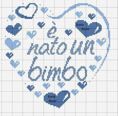 È nato un bimbo 100*100 Cross Stitch Letters, Cross Stitch Heart, Hand Embroidery Patterns, Crochet Patterns, Baby Elefante, Minnie Baby, Cross Stitching, Kids Rugs, Knitting