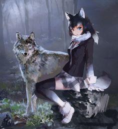 Sieben sphere — grey wolf (kemono friends) drawn by treeware -...