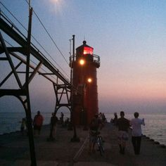 The lighthouse on South Beach pier in South Haven, MI