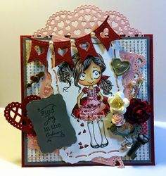 Charmed Stamping: The Greeting Farm Dollie with Hearts handmade card