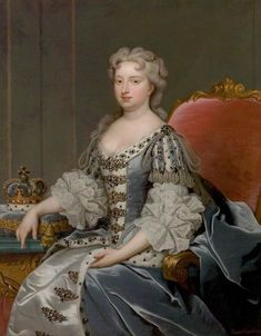 Portrait of Caroline of Brandenburg-Ansbach queenconsort of Great-Brittain and Ireland as wife of king George II King George Ii, 18th Century Fashion, Queen Of England, Herzog, Glamour, Art Uk, Historical Clothing, Historical Women, Historical Costume