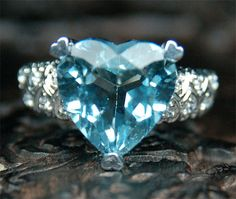 Natural Heart Shaped 5.25ct Aquamarine 14K White by ThisIsLOGR, $1069.00