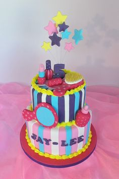 Design was brought in by client, by unknown cake artist. Teen Cakes, Girl Cakes, Cupcakes, Cupcake Cakes, Girly Birthday Cakes, Barbie Party, Decorating Cakes, Cake Stuff, Awesome Cakes