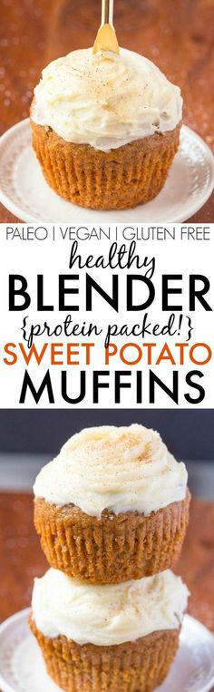 Healthy Flourless BLENDER Sweet Potato Muffins- Light, fluffy, and made in one bowl, these moist protein packed muffins are made with NO sugar, NO butter, NO oil and NO grains/flour but 100% delicious- Freezer and kid friendly too! {vegan, gluten free, paleo recipe}- http://thebigmansworld.com