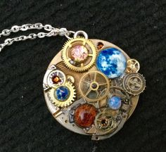 Steampunk Clockwork Orrery Style Pendant by thecurioddityshop