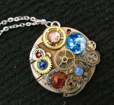 Steampunk Clockwork Orrery Style Pendant by thecurioddityshop
