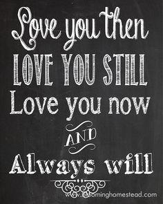 Love you always! Chalkboard Printables from Blooming Homestead