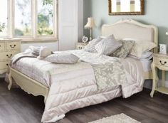 Superking £539 Rochelle Shabby Chic Champagne Painted 6ft Super King Size Bed With Upholstered Headboard