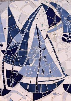 """Mosaic sailing boat"" This would be a great inspiration for a mosaic in the upstairs bathroom. -CAB"