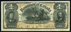 Dominion of Canada one Dollar banknote of 1898 - Dollar canadien — Wikipédia Canadian Dollar, Canadian Coins, Money Notes, Old Money, One Dollar, World Coins, Accounting, Stamps, Cow Boys