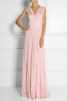 J Mendel Pleated chiffon gown