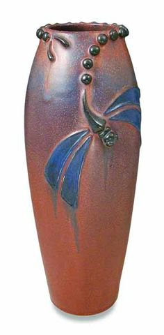 ceramic Art NEW__Ephraim Faience__ ◭ Penchant for Pottery ◮ Evening Dragonfly Vase Ephraim Faience Pottery