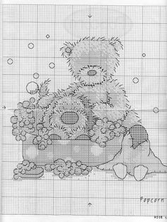 Biscuit's Bubble Bath Time 2/4 Dragon Cross Stitch, Xmas Cross Stitch, Cross Stitch For Kids, Cross Stitch Needles, Cross Stitch Baby, Cross Stitch Alphabet, Cross Stitch Animals, Cross Stitch Charts, Cross Stitch Designs