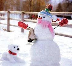 snowman and snow friend