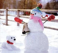 snowman and snow friend