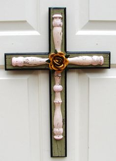 PC028 Green and Pink Layered Cross with Yellow Rose by DiaMorDecor, $75.00