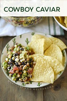 Easy Cowboy Caviar is a hearty tortilla chip dip made with black eyed peas, black beans and sweet corn with tomatoes and avocado added for freshness. Bbq Appetizers, Easy Appetizer Recipes, Easy Salad Recipes, Healthy Recipes, Summer Grilling Recipes, Barbecue Recipes, Spring Recipes, Chip Dip Recipes, Dip For Tortilla Chips