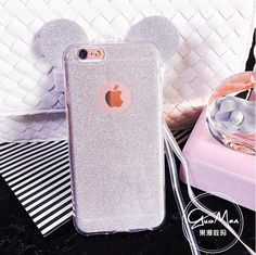 3D Minnie Mickey Mouse Ears silicone Glitter Gradient Case for iPhone 4 4S 5 5S 6 6S 6Plus Case Cover with Hang rope phone cases