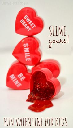 SLIME yours! Here's a fun, no candy needed, Valentine's Day idea for kids! It's easy to make and even more fun to play with.