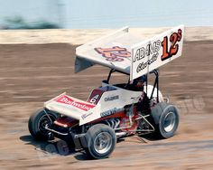 Shane Carson at speed at I-70 Speedway - 1982