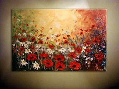 "Original Contemporary Wildflower Painting.Palette Knife.Impasto.Poppies,Daisies Painting 36"" x 24"" - by Nata S. - COMMISSION PAINTING"