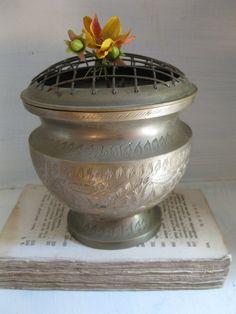 vintage brass flower frog vase