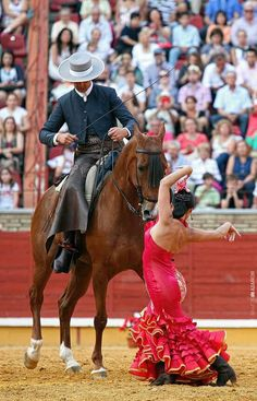flamenco dancer and horse and rider