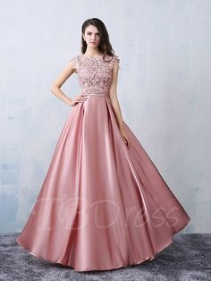 Beautiful Party Dresses 2016 Square Neckline Applique Lace Pink Satin Formal Dress With Bow-knot Indian Gowns Dresses, Pink Prom Dresses, Modest Dresses, Evening Dresses, Bridesmaid Dresses, Formal Dresses, Dresses 2016, Modest Homecoming Dresses, Dress Prom