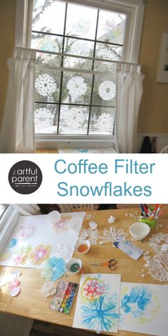 Diy Paper Snowflakes Easy Coffee Filters Ideas For 2019 Winter Crafts For Kids, Winter Fun, Winter Theme, Winter Ideas, Kids Crafts, Christmas Art, Winter Christmas, All Things Christmas, Xmas