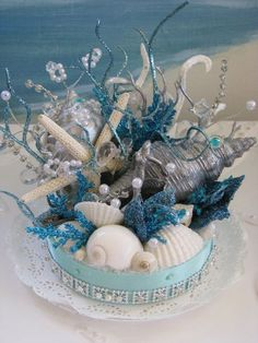 Coral Reef Seashell Cake Topper-Starfish Wedding Cake Topper-Under The Sea Beach Wedding Cake Topper #weddingcakes