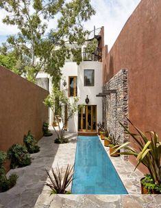 Nice lap pool with beautiful stone work beside. For Sedona home.If you like swimming pools, surely you will be interested in these pool designs. There is a swimming pool that is modern but simple. And there is also a luxurious and beautiful swimming pool. Small Swimming Pools, Small Pools, Swimming Pool Designs, Lap Pools, Indoor Pools, Lap Swimming, Indoor Swimming, Swiming Pool, Backyard Pool Designs