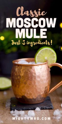 Learn how to make a classic Moscow Mule at home using just 3 ingredients! Get links to everything you need from the signature copper mug to ginger beer. Winter Cocktails, Refreshing Cocktails, Yummy Drinks, Christmas Cocktails, Aperol Spritzer, Moscow Mule Drink, Popular Drinks, Cocktail Recipes, Drink Recipes
