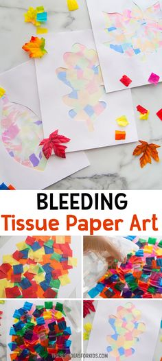 Fall Tissue Paper Art - Such A Fun Process Art Activity Crafts For Kids To Make, Projects For Kids, Kids Crafts, Art For Kids, Art Projects, Art Activities For Kids, Autumn Activities, Preschool Crafts, Preschool Kindergarten