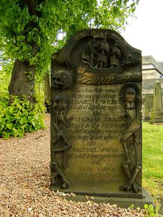 Commissioned by Captain John Gray around 1747 for his parents and the Swan boys, Michael and John (nephews? sons? they appear to have passed away quite young, ages 6 mos and 9 years, respectively). Quite whimsical was Captain Gray. In Old Calton Cemetery in Edinburgh, Scotland.