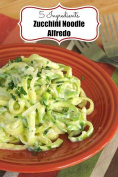 Zucchini Noodle Alfredo Recipe is low-carb, keto, gluten-free and will satisfy your urge to splurge on pasta! #ketogenicdiet #lowcarbdiet #zucchininoodles #zoodles via @dinnermom