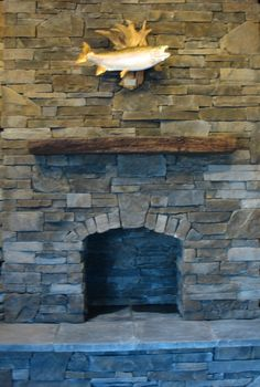 ledgestone fireplace (not the fish!)