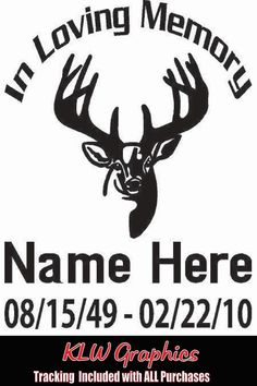 Two In Memory Of My Dad Decals Euro Deer Skull Personalized Vinyl - Custom vinyl decals for cardeer skull gun rifle hunting car truck window wall laptop vinyl