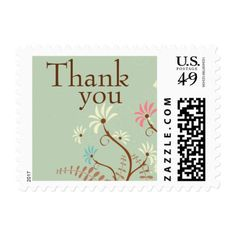 Soft teal + cream floral thank you wedding stamps