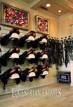 The tack room at Legacy Stables from Equestrian Estates Magazine. Dream Stables, Dream Barn, Horse Stables, Horse Farms, Tack Room Organization, Horse Tack Rooms, Horse Show Ribbons, Le Polo, Horse Property